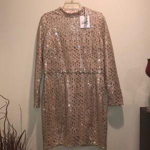 Glamorous Front Slit Sequin Dress Nude Sz 14
